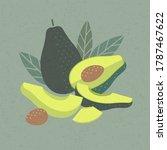 avocado illustration for poster ... | Shutterstock .eps vector #1787467622