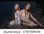 Two Young Twin Sisters With...