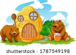 Honeycomb House With Two Bears...