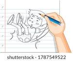 hand writing of boy fall down... | Shutterstock .eps vector #1787549522