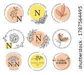 botanical logo in circle shapes | Shutterstock .eps vector #1787564495
