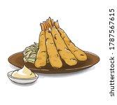 illustration of fried shrimp ... | Shutterstock .eps vector #1787567615
