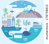 Flat Editorial Style Travel Illustration Landscape Life Theme to Relax with Nature and the sea City travel landscape with hills and buildings and the sea with whale and yacht and starry night sky