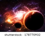 planets over golden galaxy  ... | Shutterstock . vector #178770932