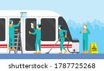 cleaning crew team in train... | Shutterstock .eps vector #1787725268