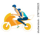 guy with a girl on a motorcycle ... | Shutterstock .eps vector #1787728325