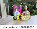Small photo of Miramar beach, Florida, USA - October, 2018. editorial photos of bottle of tequila Patron. Tequila Patron silver, Patron reposado - one of the most popular mexican tequilas in USA.
