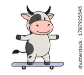 cute bull or cow rides a... | Shutterstock .eps vector #1787925545