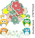owls  birds  flowers  cloud and ... | Shutterstock . vector #178793165