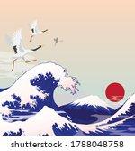 japan great wave tsunami  ... | Shutterstock .eps vector #1788048758