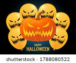 happy halloween with big carved ... | Shutterstock .eps vector #1788080522