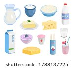 milk food set. bottle and... | Shutterstock .eps vector #1788137225
