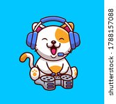 cute cat gaming with headphone... | Shutterstock .eps vector #1788157088