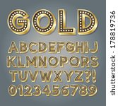 golden 3d broadway alphabet and