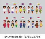 ASEAN boys and girls in traditional costume with flag
