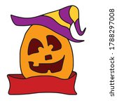 funny pumpkin with a ribbon.... | Shutterstock .eps vector #1788297008