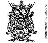 decorative ornamental owl. lacy ... | Shutterstock . vector #178850972