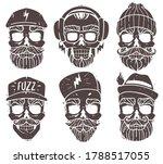 hipster skulls set. silhouette... | Shutterstock .eps vector #1788517055