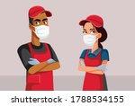 supermarket employees wearing... | Shutterstock .eps vector #1788534155