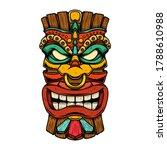 illustration of tiki tribal...