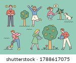 people are planting and... | Shutterstock .eps vector #1788617075