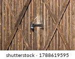 Locked Wooden Plank Barn Gates