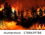 Small photo of Massive California Apple Fire forcing thousands of people to evacuate their homes, wildfires spreading rapidly, escaping to save their lives, destroyed silhouette, natural calamity
