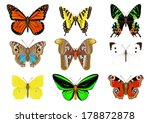 Stock vector set of vector butterflies stock vector 178872878