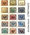 Small photo of Colorful pigeonhole message box with grunge and rustic paint.