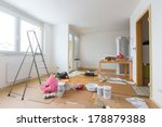 home renovation in room full of ... | Shutterstock . vector #178879388