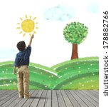 young child draws a green... | Shutterstock . vector #178882766