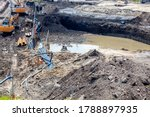 Small photo of Groundwater in excavation pit, dewatering in construction.