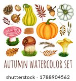 Watercolor Autumn Set. Pumpkin...