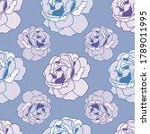 roses flowers seamless pattern...   Shutterstock .eps vector #1789011995
