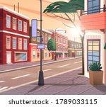 street of town vector cartoon...   Shutterstock .eps vector #1789033115