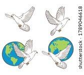 Illustration Flying Pigeons An...