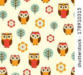 Seamless Owl Cartoon Pattern