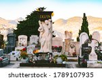 Panoramic View On Tombstones A...