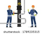happy oilman turns a pipeline... | Shutterstock .eps vector #1789235315