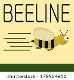 beeline graphic design with flying honey bee - stock vector