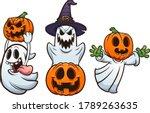 halloween ghosts and pumpkins... | Shutterstock .eps vector #1789263635
