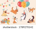 dog birthday party. puppies of... | Shutterstock .eps vector #1789270142