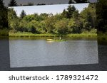 A woman with a child is kayaking in the lagoon - photo in a tinted photo frame