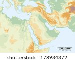 physical map of middle east... | Shutterstock .eps vector #178934372