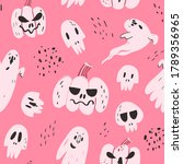 halloween seamless pattern on... | Shutterstock .eps vector #1789356965
