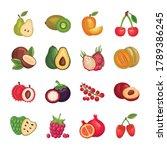 bundle of fresh fruits set...   Shutterstock .eps vector #1789386245
