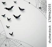 black 3d paper bats. spiderweb... | Shutterstock .eps vector #1789462055