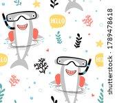 hand drawing shark seamless... | Shutterstock .eps vector #1789478618