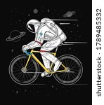 an astronaut riding bicycle in...   Shutterstock .eps vector #1789485332