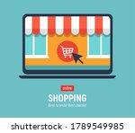 banner with laptop. page with... | Shutterstock . vector #1789549985